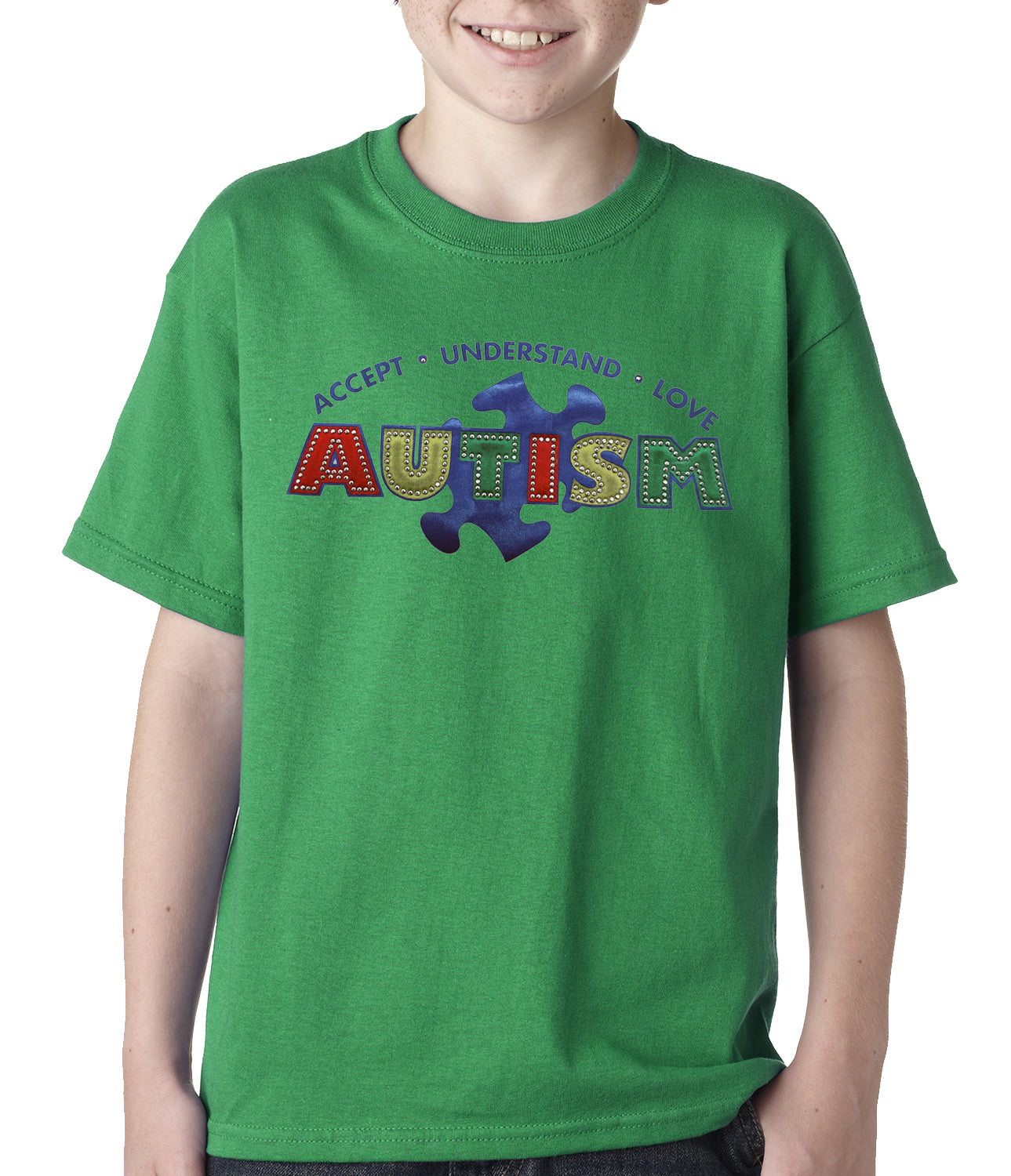 Autism Awareness - Accept, Understand, Love Kids T-shirt Kelly Green