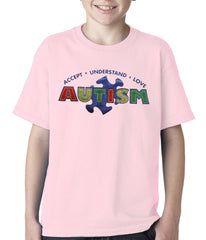 Autism Awareness - Accept, Understand, Love Kids T-shirt Light Pink