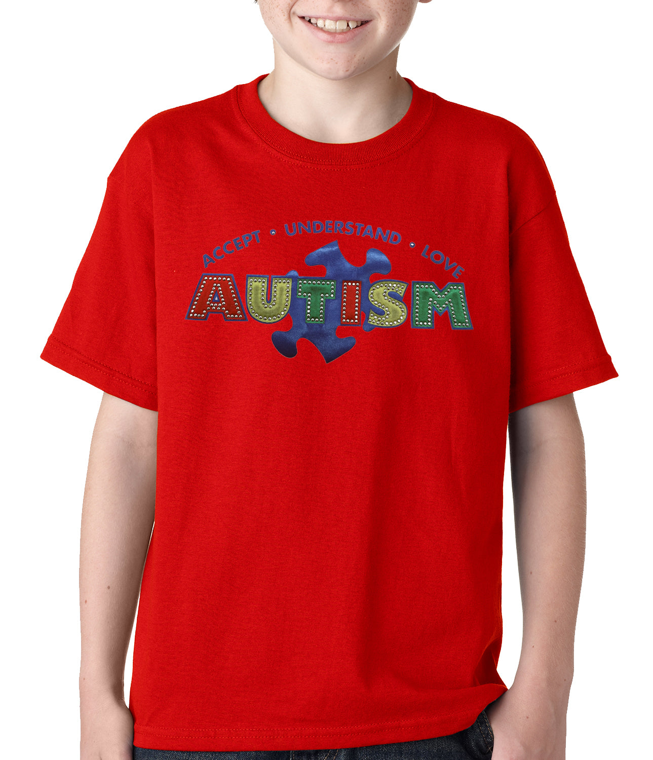 Autism Awareness - Accept, Understand, Love Kids T-shirt Red