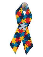 Autism Awareness Cloth Puzzle Ribbon Pin