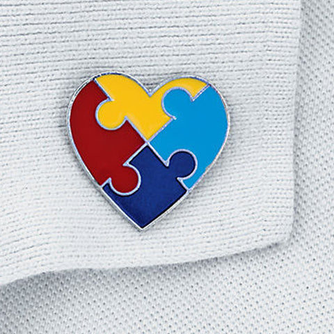 Autism Awareness Heart-Shaped Lapel Pins