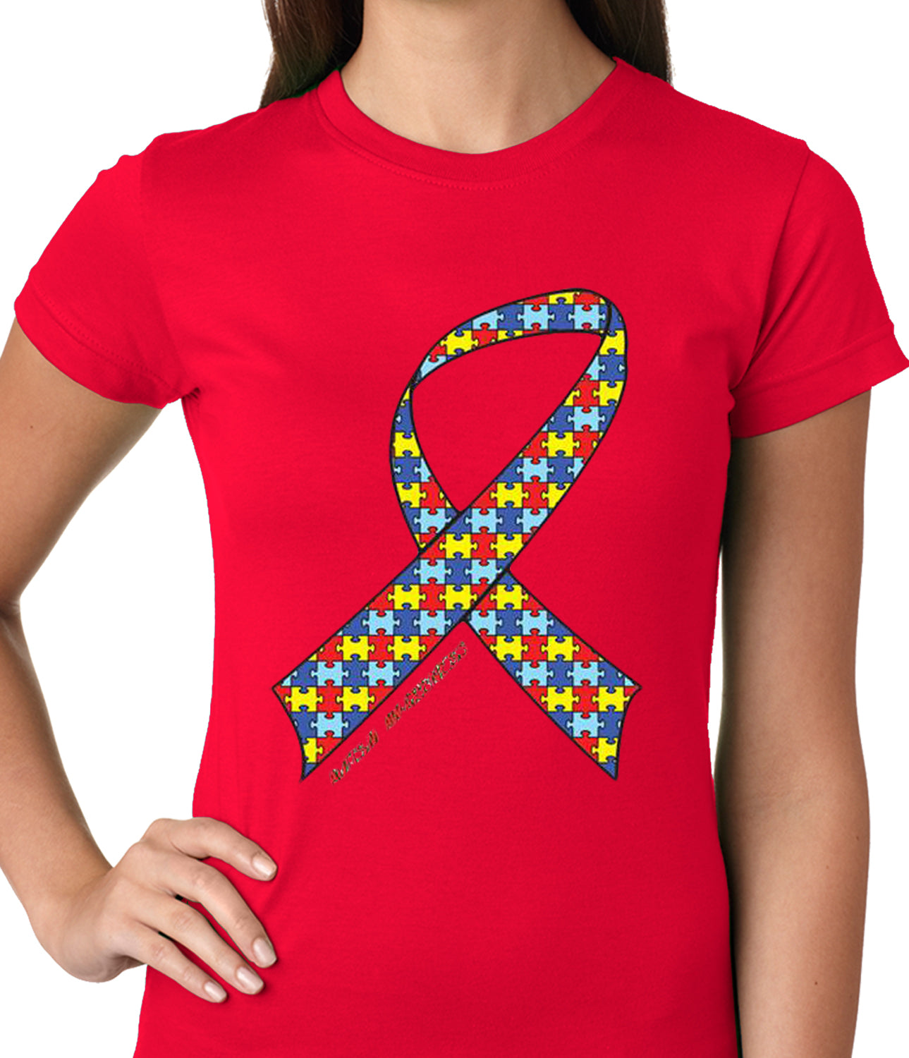 Autism Awareness Ribbon Girls T-shirt