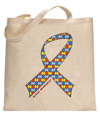 Autism Awareness Ribbon Tote Bag