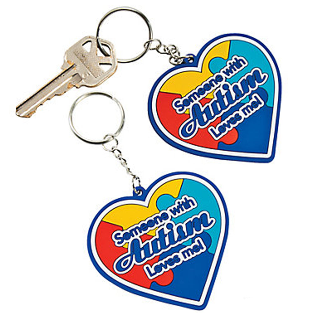 Autism Awareness Rubber Heart Key Chains