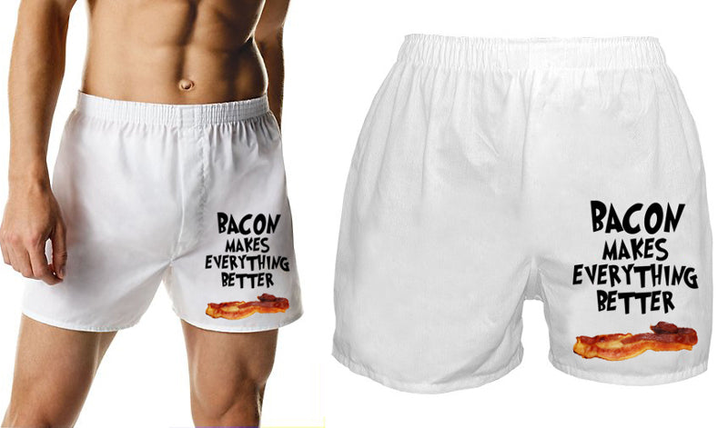Bacon Makes Everything Better Boxer Shorts (White)