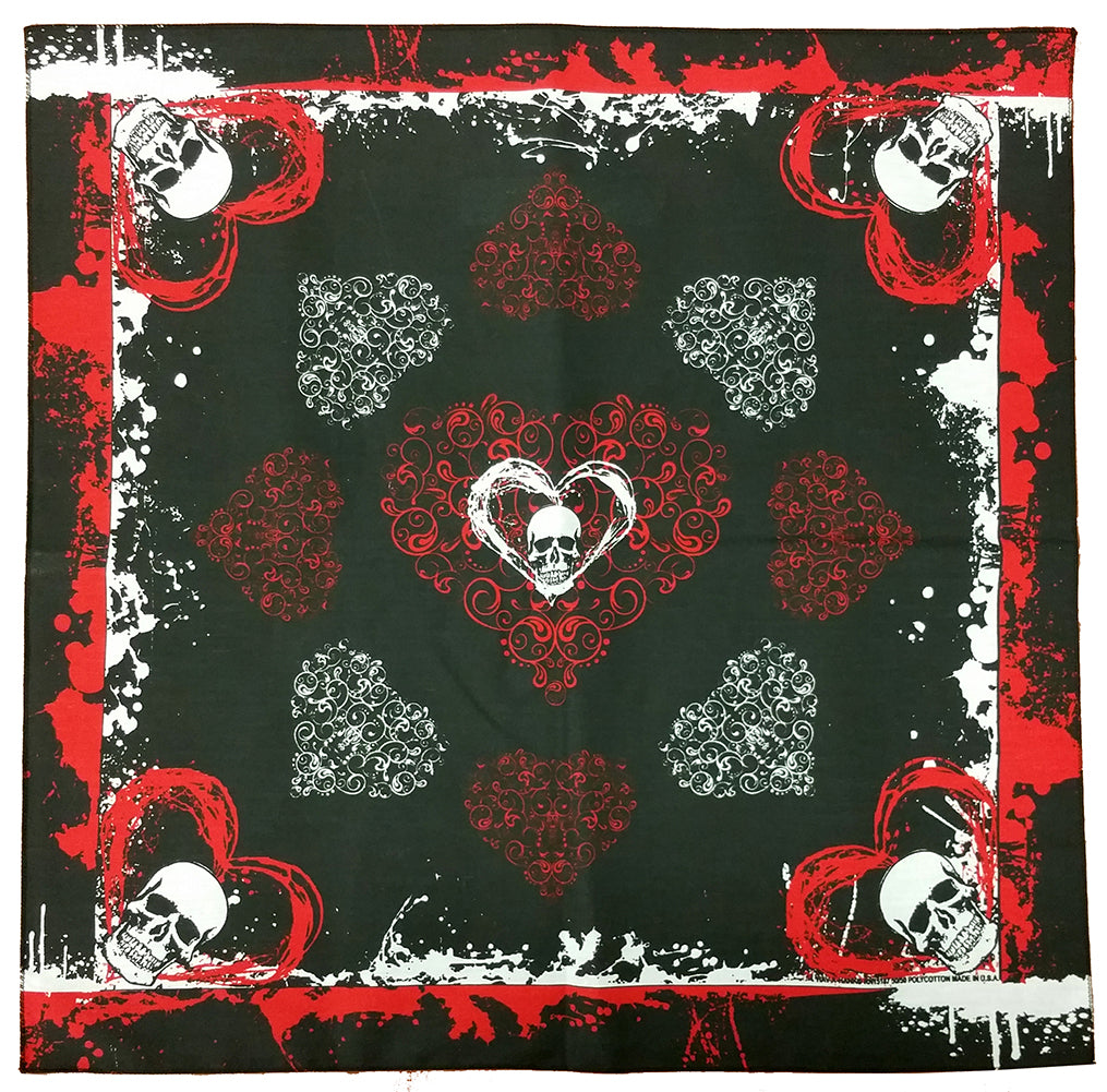 Bandana - 22x22 Inch Skulls, Hearts, and Blood Splatter Bandana (Black/Red)