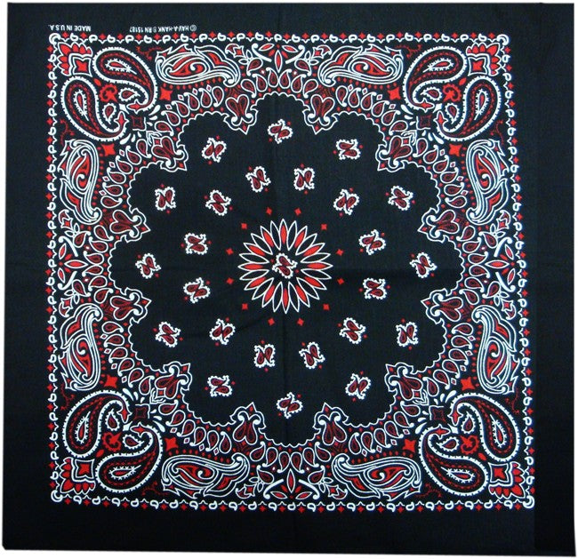Black & Red Paisley Bandanna