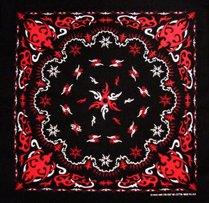 Bandanas - Tribal Paisley Bandanna (Black with Red)