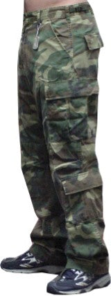 BDU Paratrooper Army Cargo Fatigues (Green Woodland Camo)