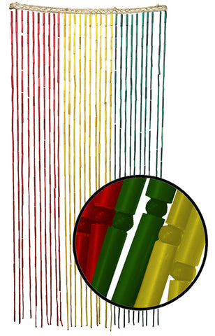 Beaded Curtains - Rasta Beaded Bamboo Curtain