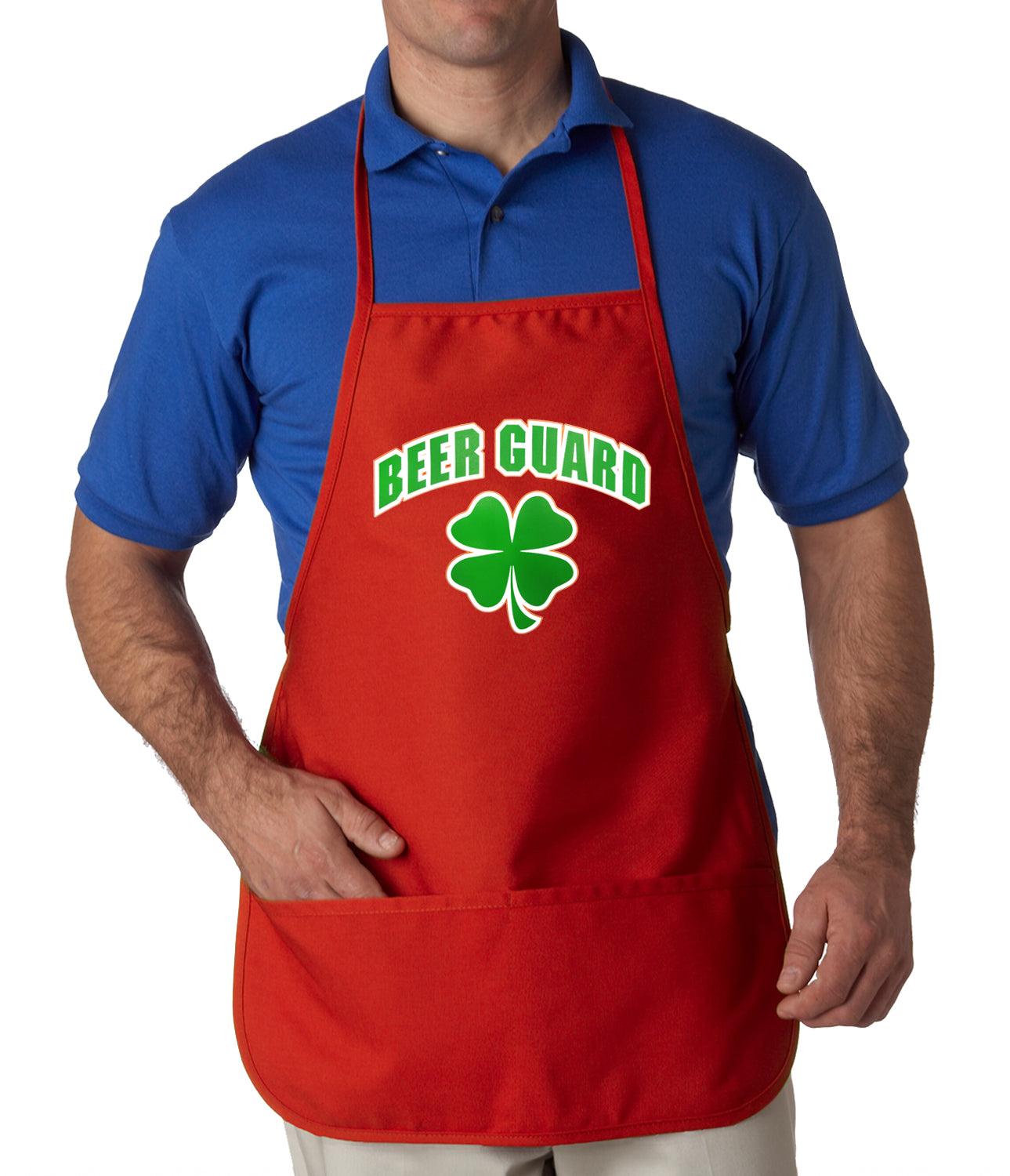 Beer Guard Irish Shamrock St. Patrick's Day Apron Red
