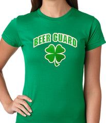 Beer Guard Irish Shamrock St. Patrick's Day Girls T-shirt Forest Green