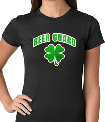 Beer Guard Irish Shamrock St. Patrick's Day Girls T-shirt Black