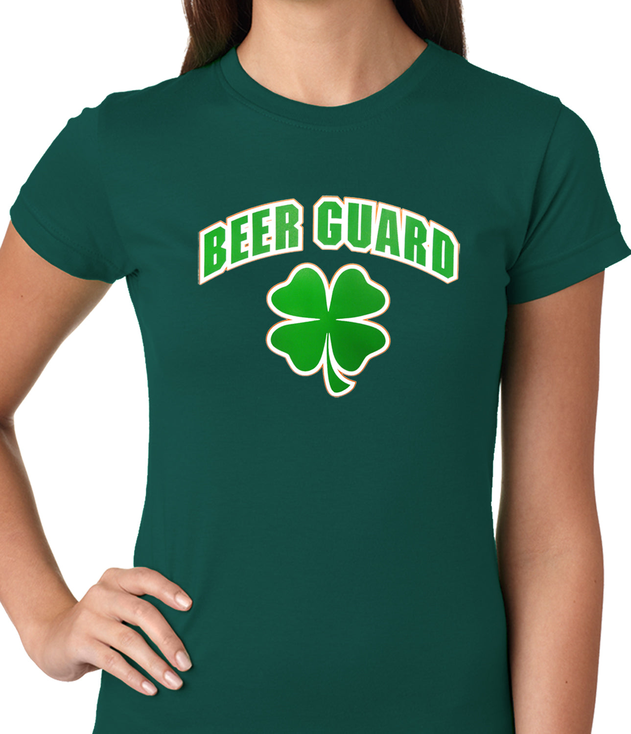 Beer Guard Irish Shamrock St. Patrick's Day Girls T-shirt Kelly Green