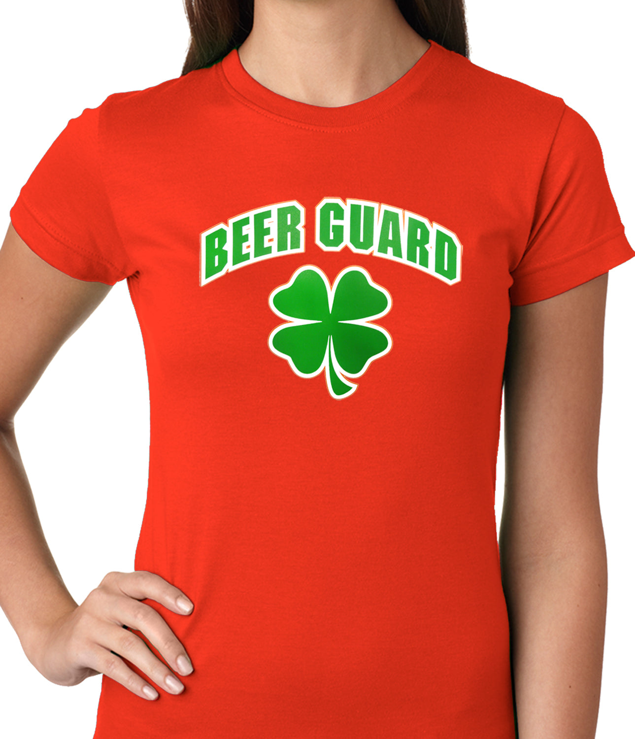 Beer Guard Irish Shamrock St. Patrick's Day Girls T-shirt Red