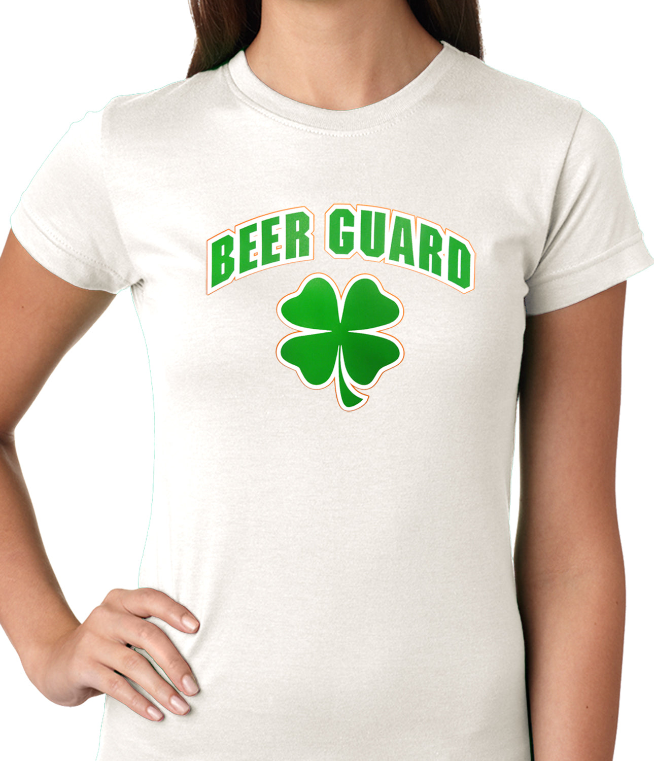 Beer Guard Irish Shamrock St. Patrick's Day Girls T-shirt White