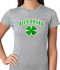 Beer Guard Irish Shamrock St. Patrick's Day Girls T-shirt Grey