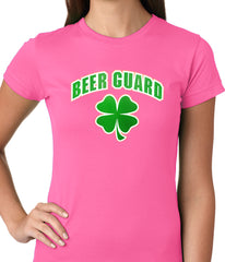 Beer Guard Irish Shamrock St. Patrick's Day Girls T-shirt Pink
