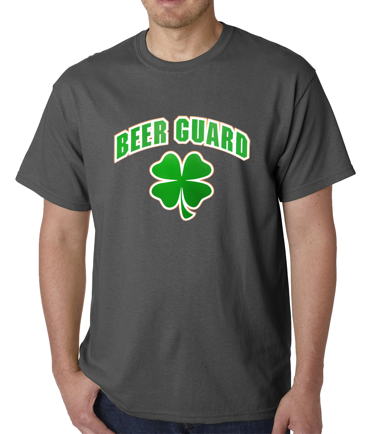 Beer Guard Irish Shamrock St. Patrick's Day Mens T-shirt Charcoal Grey