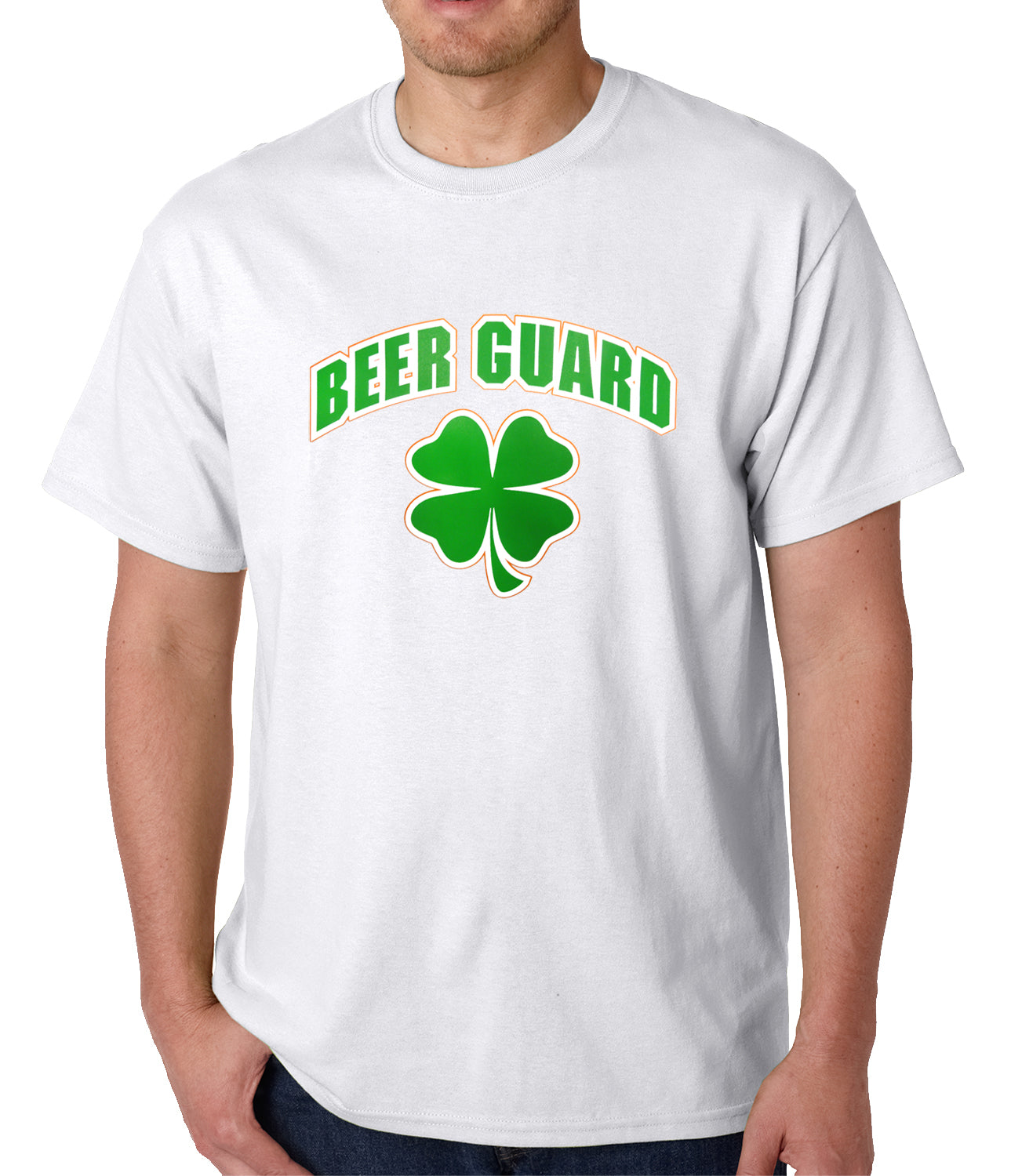 Beer Guard Irish Shamrock St. Patrick's Day Mens T-shirt White