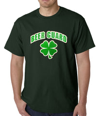 Beer Guard Irish Shamrock St. Patrick's Day Mens T-shirt Forest Green