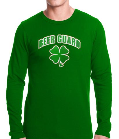 Beer Guard Irish Shamrock St. Patrick's Day Thermal Shirt Kelly Green