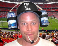 Beer Helmet - F*ck My Liver Double Beer Can  Hat