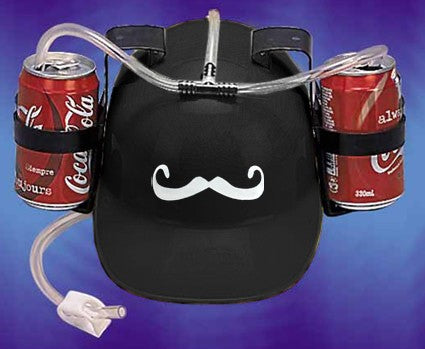 Beer Helmet - Mustache Double Beer Can  Hat