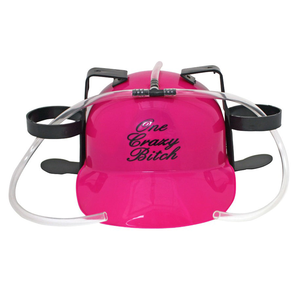 Beer Helmet - One Crazy B*tch Beer Can Hat (Pink)