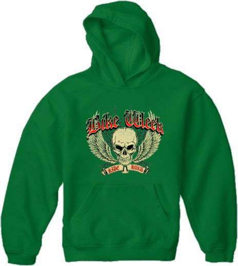 Bike Week Ride Hard Adult Hoodie Dark Green