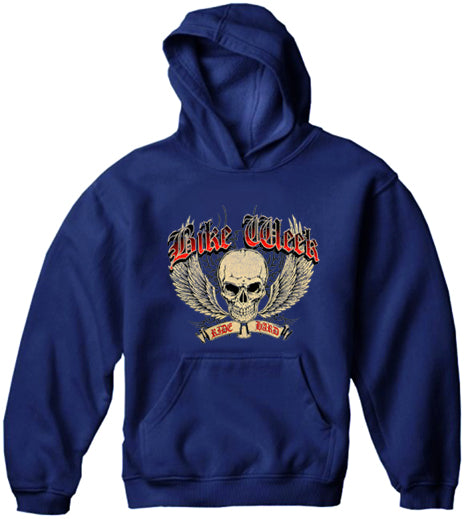 Bike Week Ride Hard Adult Hoodie Navy Blue