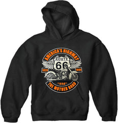 "Biker Hoodie - ""America's Highway Route 66"" MotorCycle  (Black)"