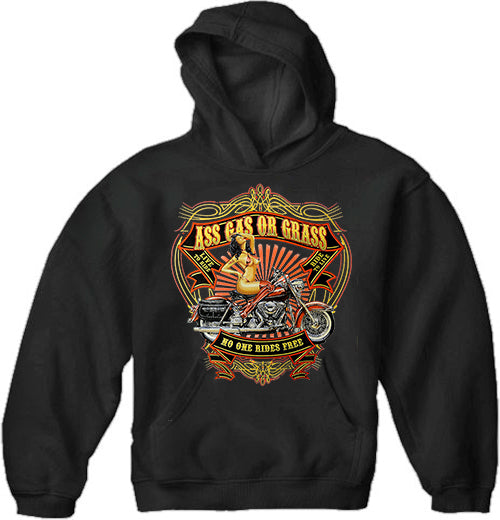 "Biker Hoodie - ""Ass Gas Or Grass"" Motorcycle Sweatshirt (Black)"