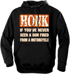 "Biker Hoodies - ""Gun Fired From a Motorcycle"""