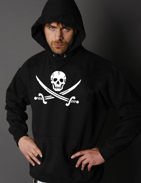Biker Hoodies - Pirate Skull and Swords Biker Hoodie