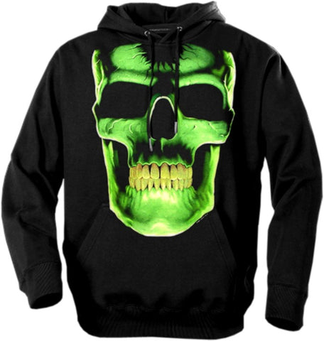 "Biker Hoodies - ""Radioactive Glowing Skull"""