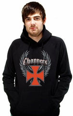 "Biker Hoodies - ""Winged Chopper Cross"" Biker Hoodie Man"