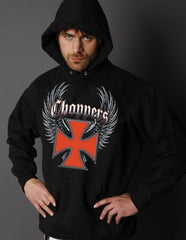 """Winged Chopper Cross"" Biker Hoodie"