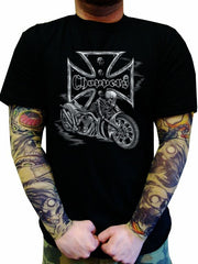 "Biker Shirts - ""Chopper Skeleton Bike"" Biker Shirt"