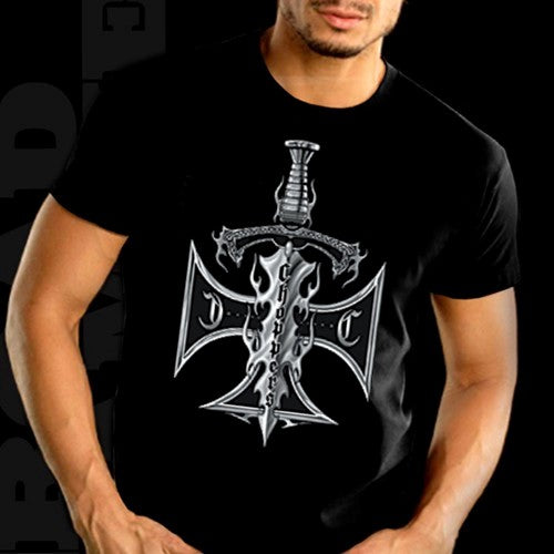 "Biker Shirts - ""Chopper Sword & Cross"" Biker Shirt"