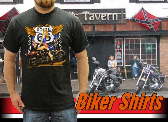 "Biker Shirts - ""Route 66 Pin Up"" Biker Shirt"