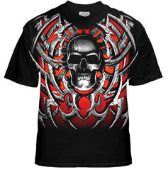 "Biker Shirts - ""Tribal Steel Blade Skull"" Biker Shirt"
