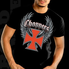"Biker Shirts - ""Winged Chopper Cross"" Biker Shirt"