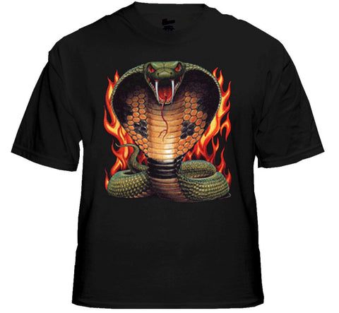 "Biker T-Shirts - ""Cobra in Flames"" Biker Shirt Black"