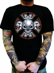 "Biker T-Shirts - ""Demon Iron Cross"" Biker Shirt Man"