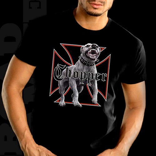 "Biker T-Shirts - ""Nasty Chopper Dog"" Biker Shirt Man"