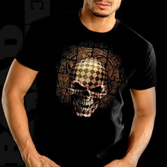 "Biker T-Shirts - ""Symbiote Puzzle Box Skeleton"" Biker Shirt Men's"