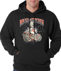 Bikes and B*tches Biker Adult Hoodie Black