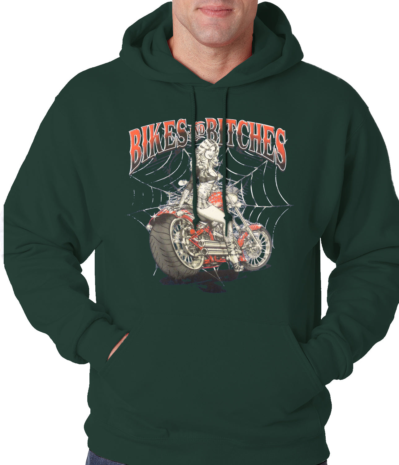Bikes and B*tches Biker Adult Hoodie Forest Green