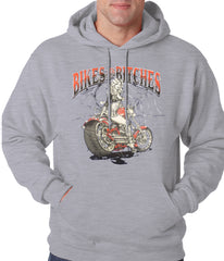Bikes and B*tches Biker Adult Hoodie Grey